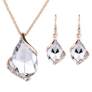White Artificial Crystal Water Drop Necklace and Earrings