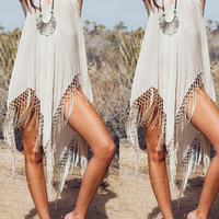 Off White Sleeveless Fringe Dress