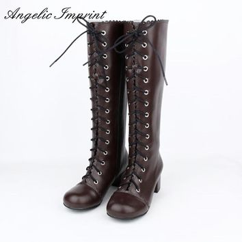 Japanese Style Lolita Cosplay Knee High Boots Vintage Brown Lace-up Square Heel Princess Girl Martin Boots 8428