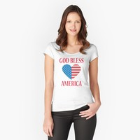 'God Bless America, Fourth of July Heart Flag' Women's Fitted Scoop T-Shirt by JevLavigne