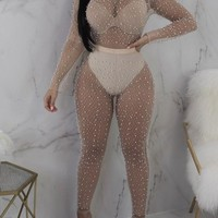 Apricot Beading Ruched Sheer Fishnet Bodycon Clubwear Party Long Jumpsuit