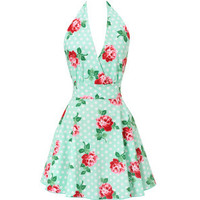Floral Swing Apron in Mint | Get Go Retro
