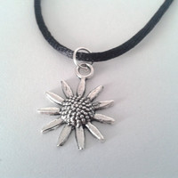 Silver Plated Sunflower Charm Choker Necklace