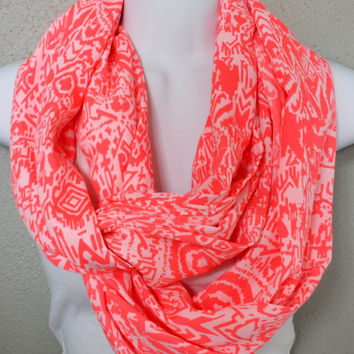 Neon Pink Tribal Printed Infinity Scarf Twist Scarf Womens Fashion Scarves Ethnic Print Scarf Pink Accessories Chiffon Circle Boho Scarf