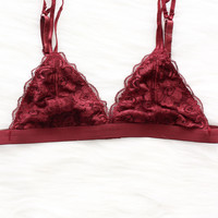 Floral Lace Triangle Bralette - Burgundy