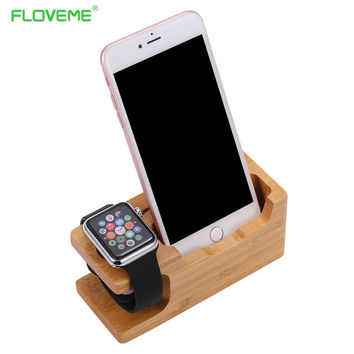 FLOVEME Real Wood Phone Holder Stand For iPhone 7 7 Plus Charging Dock Desktop Bracket For iPhone 7 6 6s Plus 5 5s SE Watch Hold