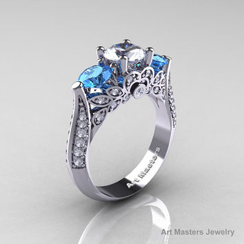 Classic 10K White Gold Three Stone White Sapphire Aquamarine Solitaire Ring R200-10KWGAQWS