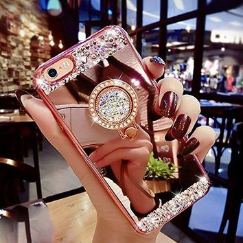iPhone 7 Case, Luxury Soft Rubber Bumper Diamond with Ring Stand