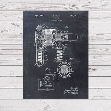 Patent Print of a Hair Drier - Patent Art Print - Patent Poster - Beauty Poster - Hair Dryer - Beauty Art - Hairdresser