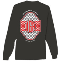 UGA Pattern Monogram Comfort Colors Long Sleeve Tee - Pepper