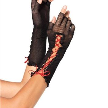 DCCKLP2 Lace up fishnet fingerless gloves in BLACK/RED
