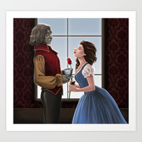 Beauty and the Beast Art Print by Brianna