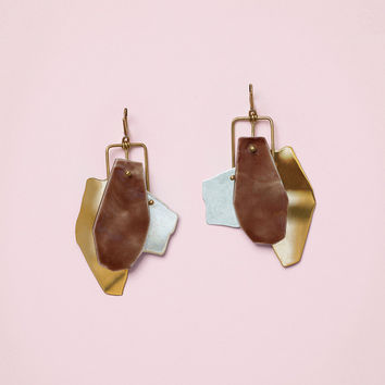 Patchwork Earrings in Bicolour Brass and Enamelled Porcelain
