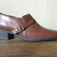 Brown Leather Booties Vintage 90s ankle boots chunky heels square toe side buckle pilgrim shoes womens size 8 Danelle