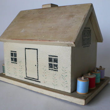 vintage sewing box wooden house handmade from Diz Has Neat Stuff