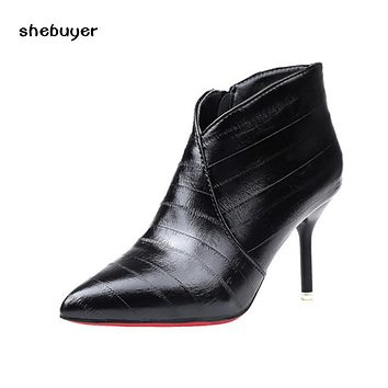 Autumn Winter Leather Women Ankle Boots Sexy Thin High Heel Pumps Woman Pointed Toe Short Boots Side Zipper Pumps
