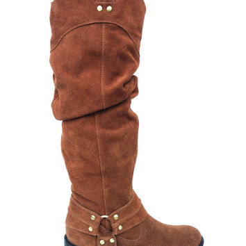 Fashionable Slouchy Genuine Suede Riding Boot In Whiskey | Thirteen Vintage