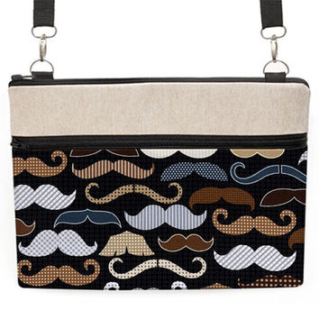 """MacBook Pro Bag 13 inches, 13"""" Laptop Crossbody, 11"""" MacBook Air Strap Bag, Laptop Zipper Cover - mustaches in gray"""