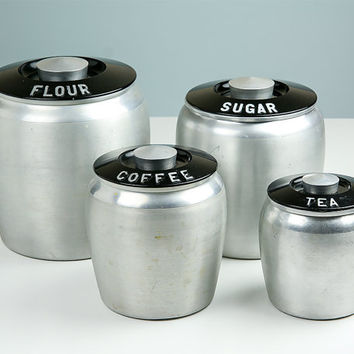Vintage Kromex Canisters / Flour Sugar Coffee Tea / Art Deco / Kitchen Canister Set / Retro Kitchen / 1950s Kitchen Decor / Cannister