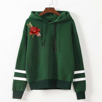 Embroidery Blouse Hot Sale Womens Applique Long Sleeve Hoodie Jumper Hooded Sweatshirt Pullover Tops Cotton Blusas