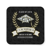Black &Faux Damsons And Gold Graduation Hat Square Sticker