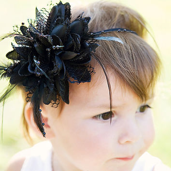 Elegant Black Flower with Lace Feathers and by LittleLovesDesigns