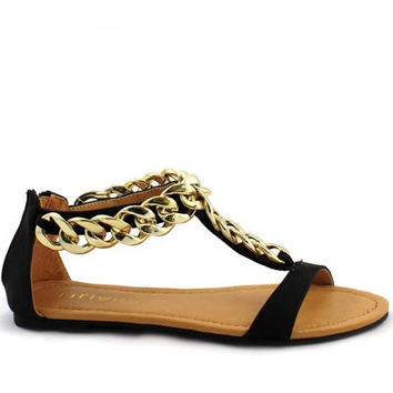 Aurora Chain Link Sandals - Black