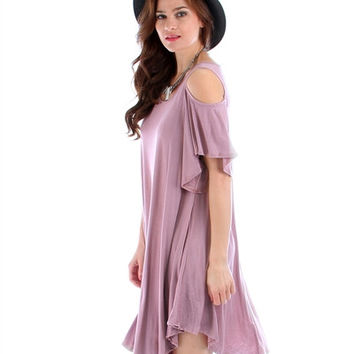Mauve Lyss Loo Open Shoulder Over Sized Tunic Dress
