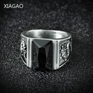 XIAGAO Vintage Antique Gold/Silver Color Crystal Ring For Men Stainless Steel Square Stone Finger Ring Male Men Jewelry BR154
