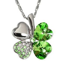 Four Leaf Clover Heart Shaped Swarovski Elements Crystal Rhodium Plated Pendant Necklace - Green