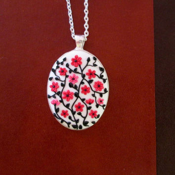 cherry floral necklace,polymer clay necklace,READY TO SHIP jewelry,romantic gift for her,cameo necklace,colorful statement necklace,vintage