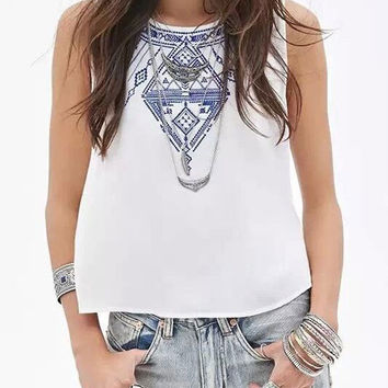 Summer Round Neck Sleeveless Embroidered Back Buttons Short Vest