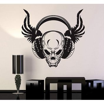 Vinyl Wall Decal Cool Skull Wings Headphones Musical Art Stickers Unique Gift (ig4803)