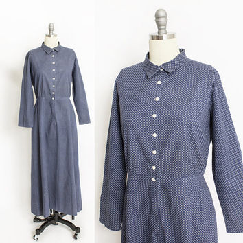 Vintage 1910s Dress - Calico Blue Polished Cotton Shirtwaist Prairie Day Dress 20s - Large L