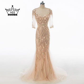 2017 Real Photo Sexy Dubai Robe De Soiree Mermaid Evening Dresses Sheer Gold Crystal Beaded Sequins Illusion Back Party Gowns