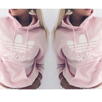 Pink Adidas Letters Women's Long Sleeve Hoodies Sweater