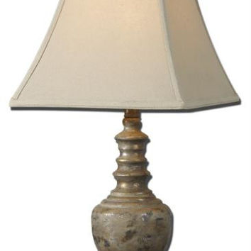 Buffet Table Lamp - Taupe-gray Body With Champagne Tones And Black Distressing And Antiqued Effect