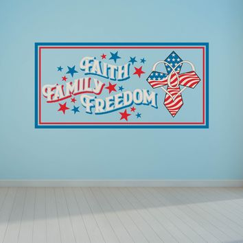 Faith Family Freedom Red White Blue Wall Art Decal Sticker