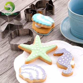 3PCS Stainless Steel Hippocampus Cookie Cutter 3D Starfish Cookie Mold Shell Mousse Ring Sea Animal Biscuit Mould Baking Tools
