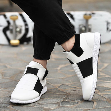 Mens Casual Laceless Elastic Sneakers
