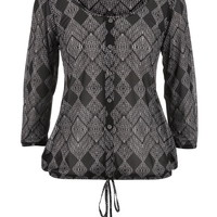 Patterned Button Front Peasant Top - Black