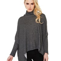 Grey Turtleneck Long Sleeve Batwing Blouse
