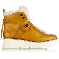 Coach - Urban Hiker shearling-trimmed leather boots