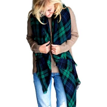 Plaid Square Blanket Scarf, Green
