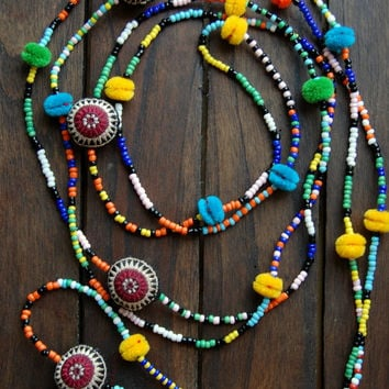 One-of-a-Kind Multi-Strand Vintage Fabric Hmong Necklace