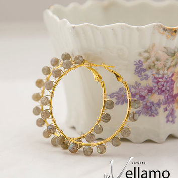 Gold plated hoop earrings wire wrapped with labradorite beads, flashy stone and golden elegant round hoop style earrings, natural stone