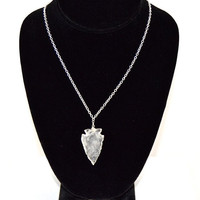 Quartz Arrowhead Necklace w/ Sterling Silver Chain