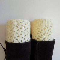 Cream Lace Boot cuff, Crochet boot cuffs, Crochet lace boot toppers, Wool cream boot cuffs, Teen, gift for her, leg warmers, woman fashion