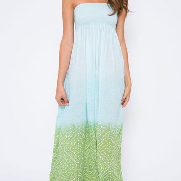 Cool Change || Pamela pull on maxi dress in sage/lagoon/surf
