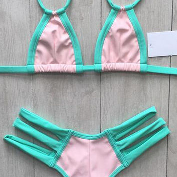Neon Blue And Pink Contrast Triangle Strappy Bikini Set